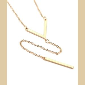 Gold Chain Chevron V-Shape Lariat Bar Necklace
